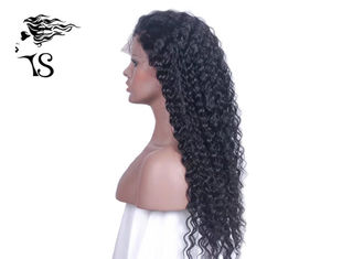 Long Black Full Lace Rambut Manusia Wig Deep Wave No Tangle Indian / Brazilian Hair