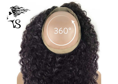 Wanita Hitam Curly 360 Lace Frontal Wig, 100% Indian Remy 360 Swiss Lace Frontal