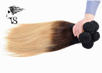 8A Silky Straight Long Ombre Human Hair Extensions dengan Black Brown Blonde 3 Color